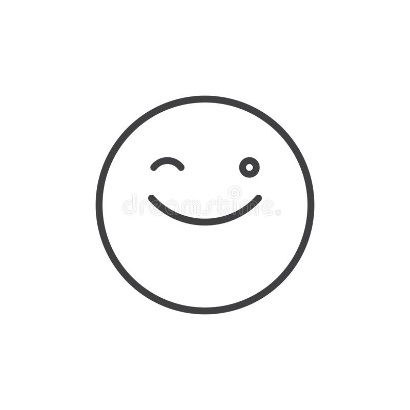 Winking Face Emoticon Line Icon Stock Vector Illustration Of