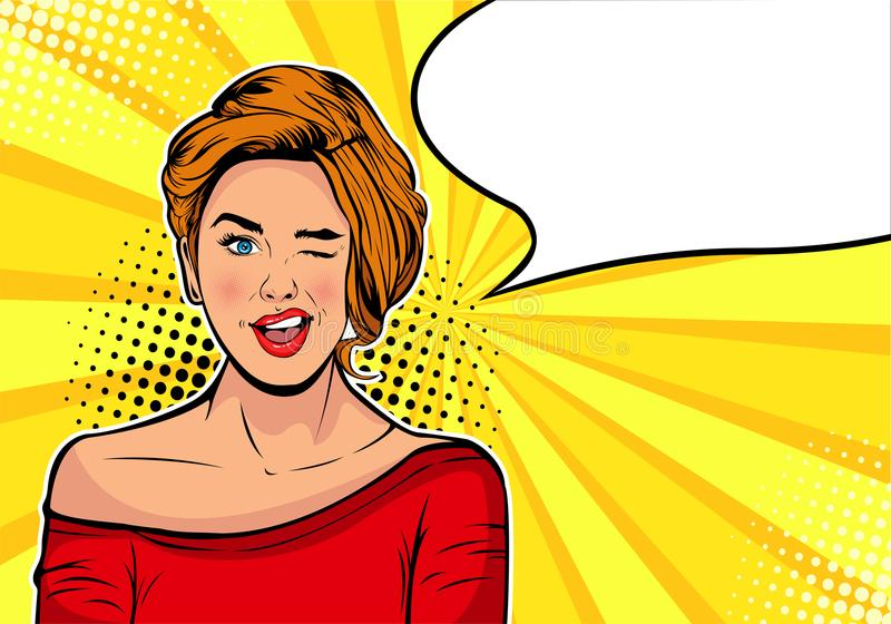 Winking girl. Cartoon comic vector illustration in pop art retro style. royalty free illustration
