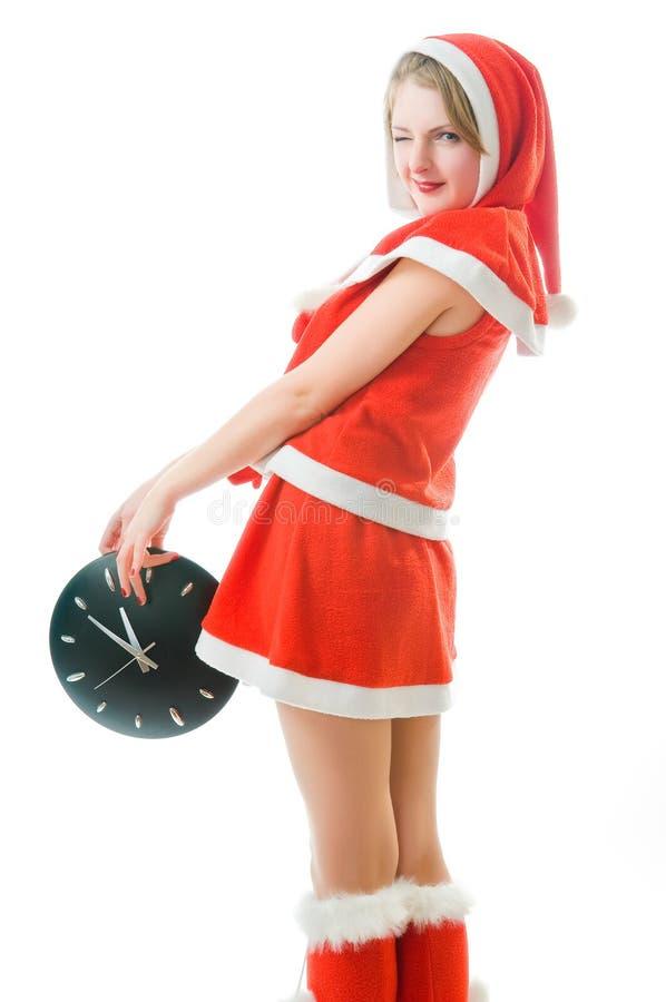 Winking Girl In Santa Claus Clothes Stock Photos