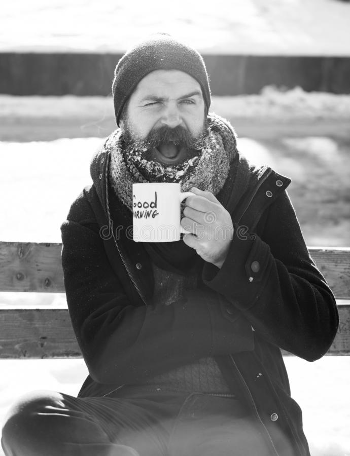 Winking man, bearded hipster with beard and moustache covered with white frost drinks from cup with good morning text. Sitting on wooden bench on snowy winter stock image