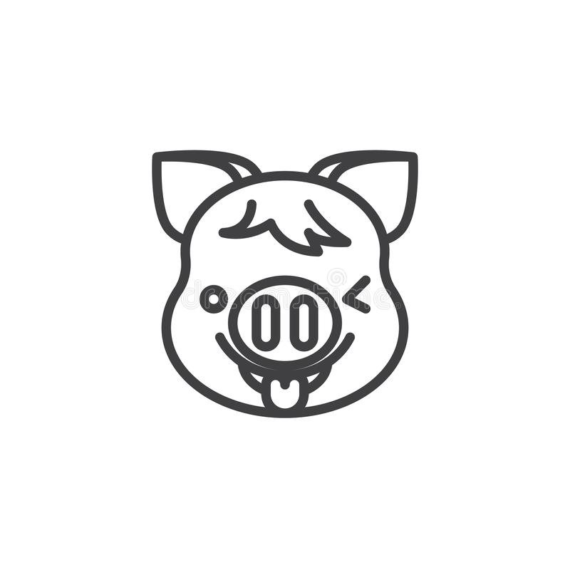 Winking Piggy Face With Tongue Emoji line icon. Linear style sign for mobile concept and web design. Happy piggy face emoticon outline vector icon. New year stock illustration