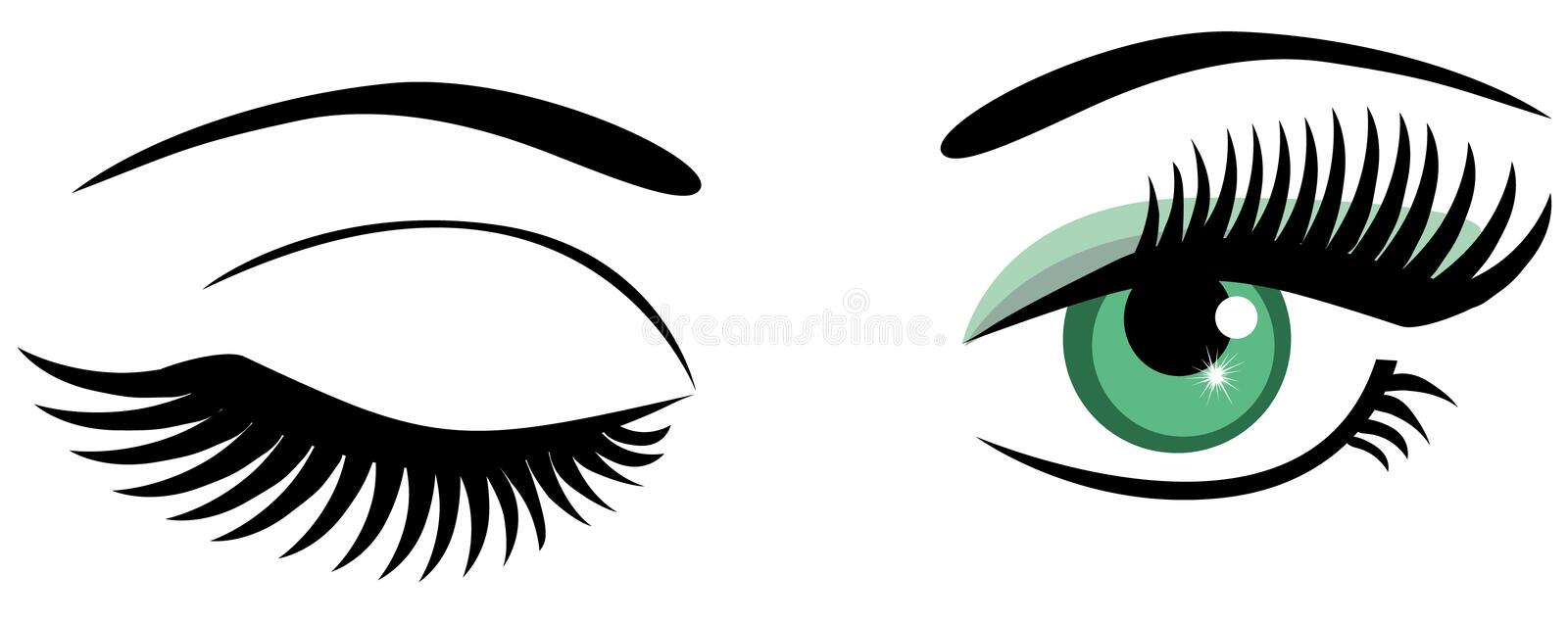Winking. Vector green eyes with long lashes winking
