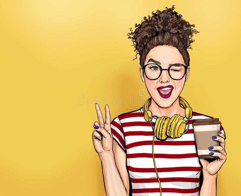 Winking woman in glasses with head phones makes peace gesture  Pop art girl holding coffee cup. stock illustration