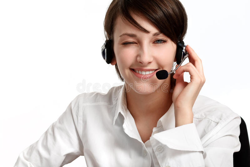 Download Winking Woman Operator With Headset Stock Image - Image: 13446111