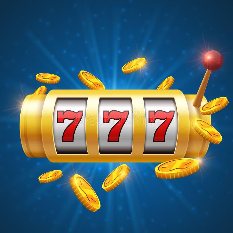 Winnaar die vectorachtergrond met gokautomaat gokken Het concept van de casinopot vector illustratie
