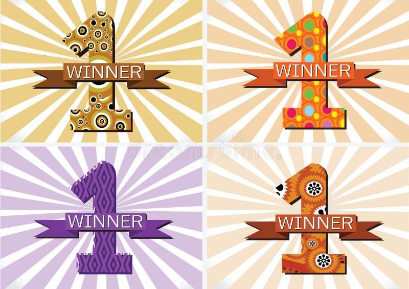 Winnaar en Aantal Één Eerste Plaats ondertekenen simbol met linten vector illustratie
