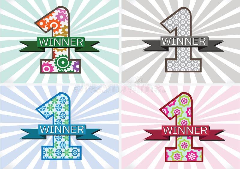 Winnaar en Aantal Één Eerste Plaats ondertekenen simbol met linten stock illustratie