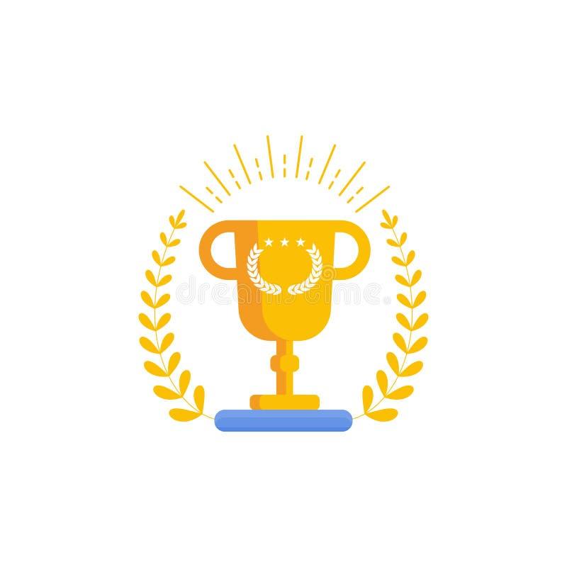 Winnaar Gouden Kop Beeldverhaal vlakke vectorillustratie royalty-vrije illustratie