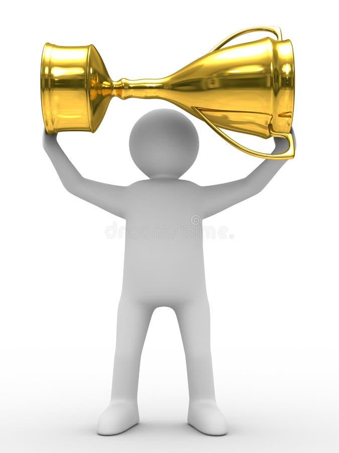 Winnaar met gouden kop op witte achtergrond royalty-vrije illustratie