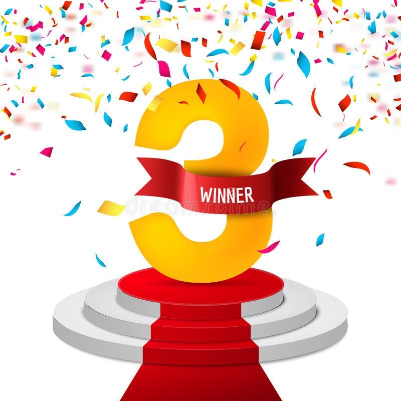Winnaar, nummer drie confettienachtergrond Het triphy symbool van de prijstoekenning Overwinning en succesconcept Kampioensteken royalty-vrije illustratie