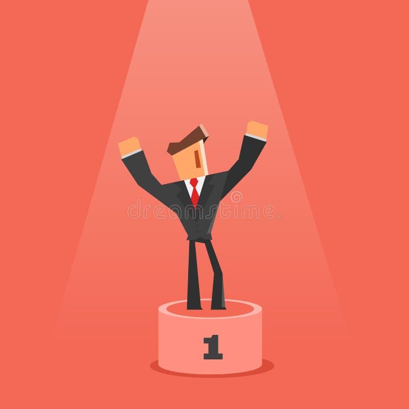 Winnaar op voetstuk Vlakke stijl Zakenman die zich op eerste plaats van voetstuk bevinden succes en overwinningsconcept stock illustratie