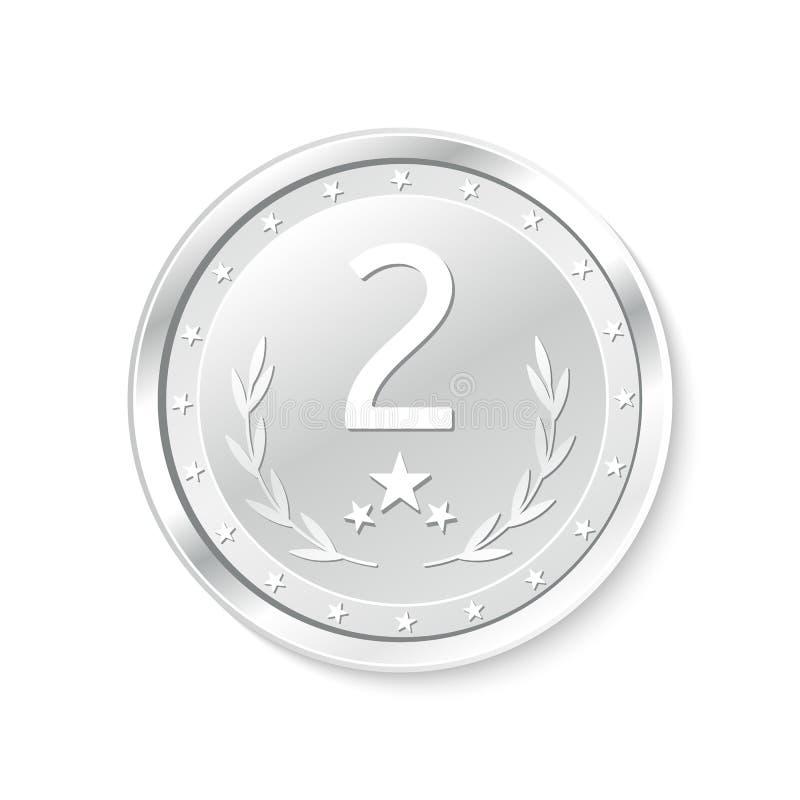 Winnaar` s kenteken, tweede plaats medaille royalty-vrije illustratie