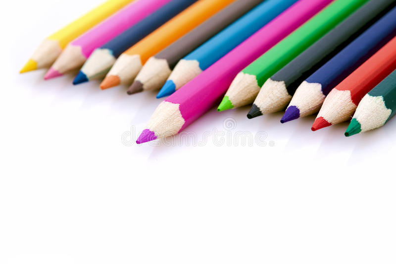 Winnaar of succesconcept met kleurrijke potloden stock foto