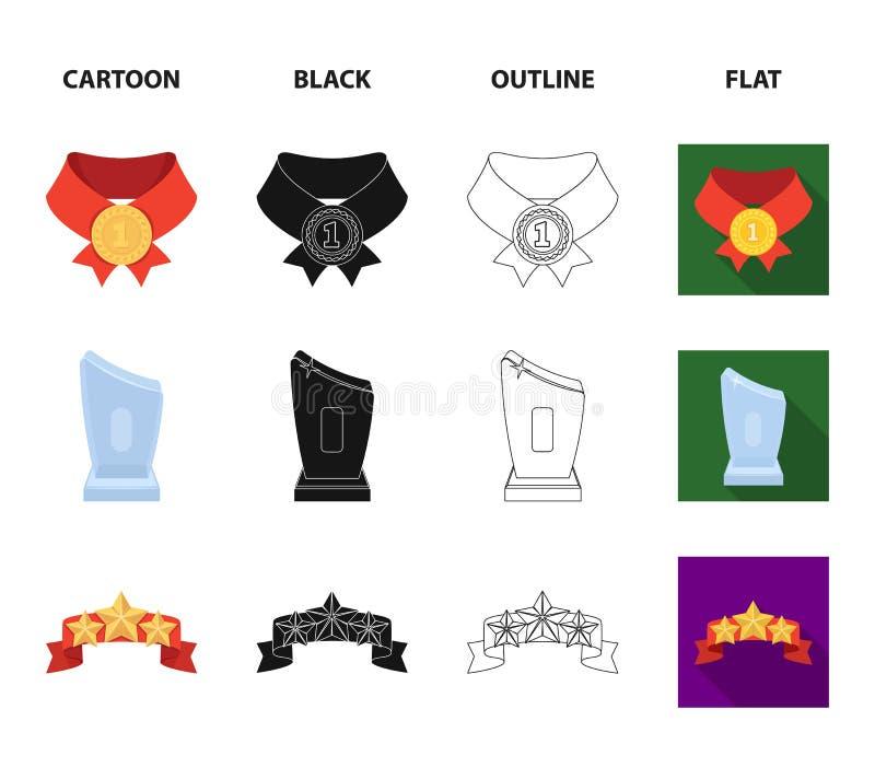 Winnaar voor de eerste plaats in de concurrentie, een kristalprijs, een lint met de sterren, een medaille op het rode lint royalty-vrije illustratie