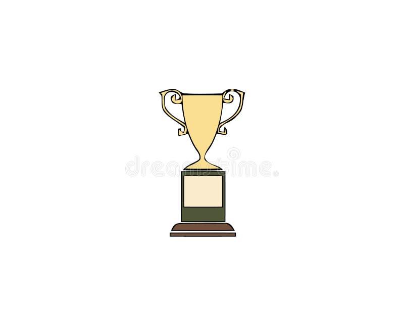 Winnaarkop Trofee?n met lauwerkrans en exemplaarruimte Gouden ge?soleerde toekenning vector illustratie