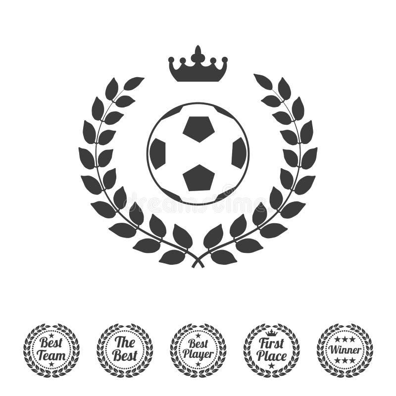 Winnaarlauwerkrans met een voetbalbal stock illustratie