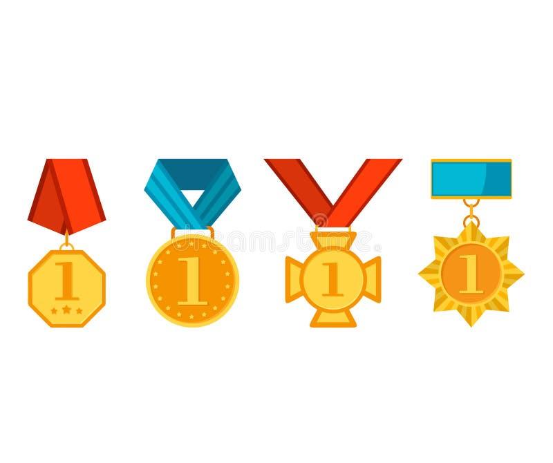Winnaarmedailles met rode en blauwe die linten op witte achtergrond worden geïsoleerd Kleurrijke inzameling van gouden toekenning royalty-vrije illustratie