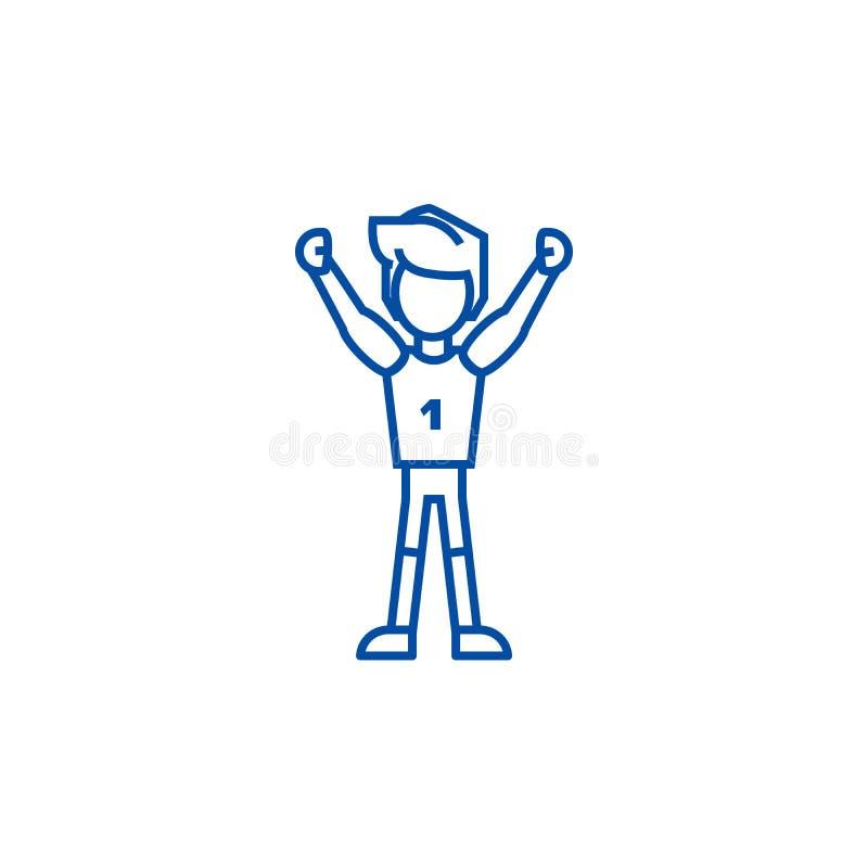 Winnaarmens, eerste het pictogramconcept van de plaatslijn Winnaarmens, eerste plaats vlak vectorsymbool, teken, overzichtsillust royalty-vrije illustratie