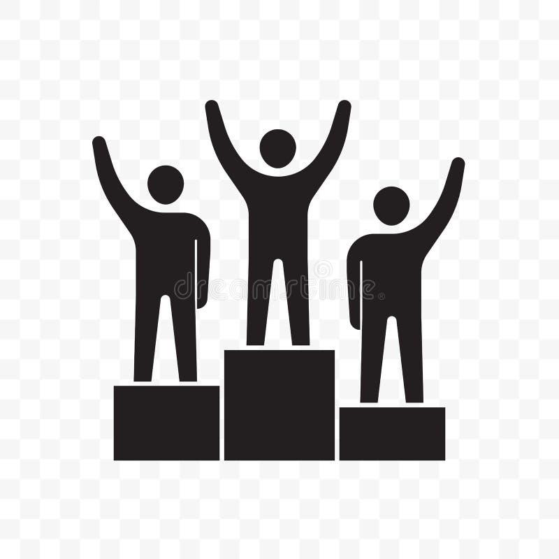 Winnaars bedrijfsmensen op voetstuk vectorpictogram vector illustratie