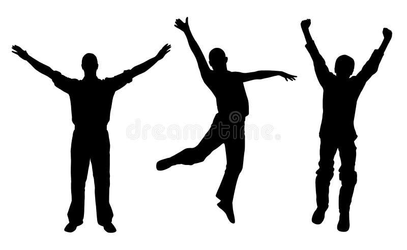 Winnaars en gelukkige mensen royalty-vrije illustratie