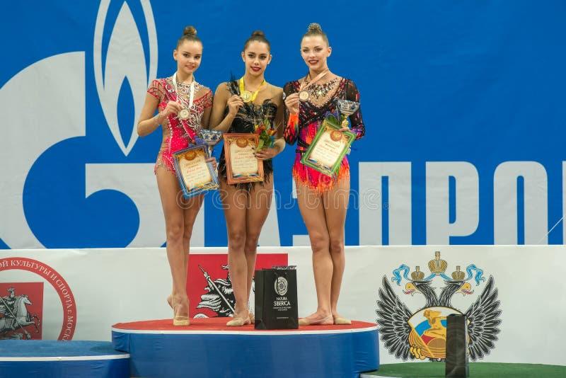 Winnaars op het podium royalty-vrije stock fotografie