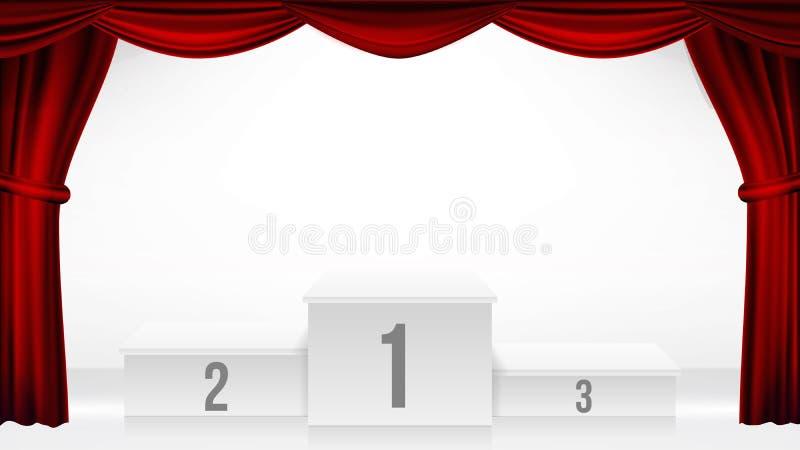 Winnaarspodium, de Vector van het Theatergordijn Het Voetstuk van de toekenningsceremonie Wit stadium Leeg platform Trofeeplaats  vector illustratie