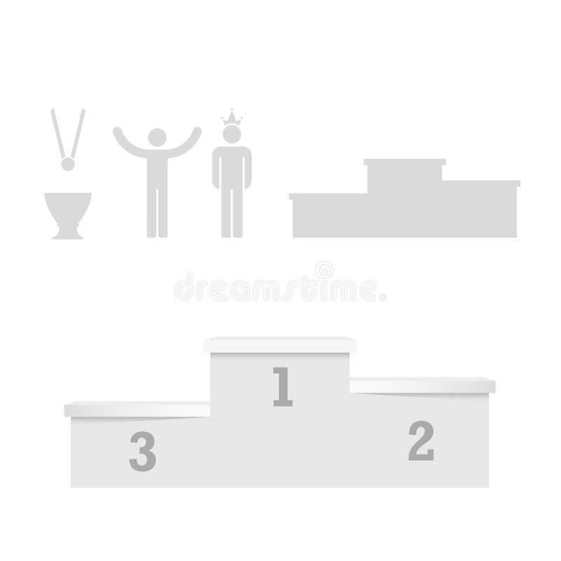Winnaarspodium, Eerste Plaats, Toekenning en Kop VectordieOntwerpelementen voor u Ontwerp worden geplaatst stock illustratie