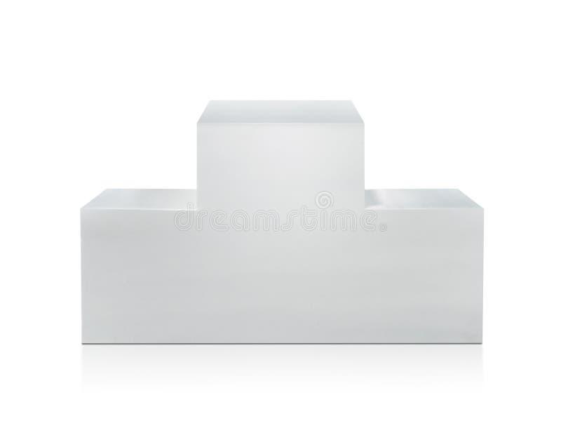 Winnaarspodium op witte achtergrond wordt geïsoleerd die Voor ontwerp stock fotografie
