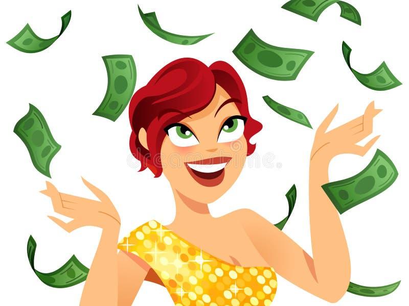 Winner. Happy winner with money raining around her