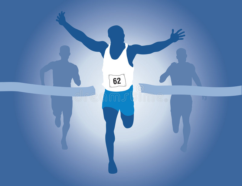 Winner. A Runner winning the race with two other runners trailing behind. Vector Artwork with an Olympic Theme vector illustration