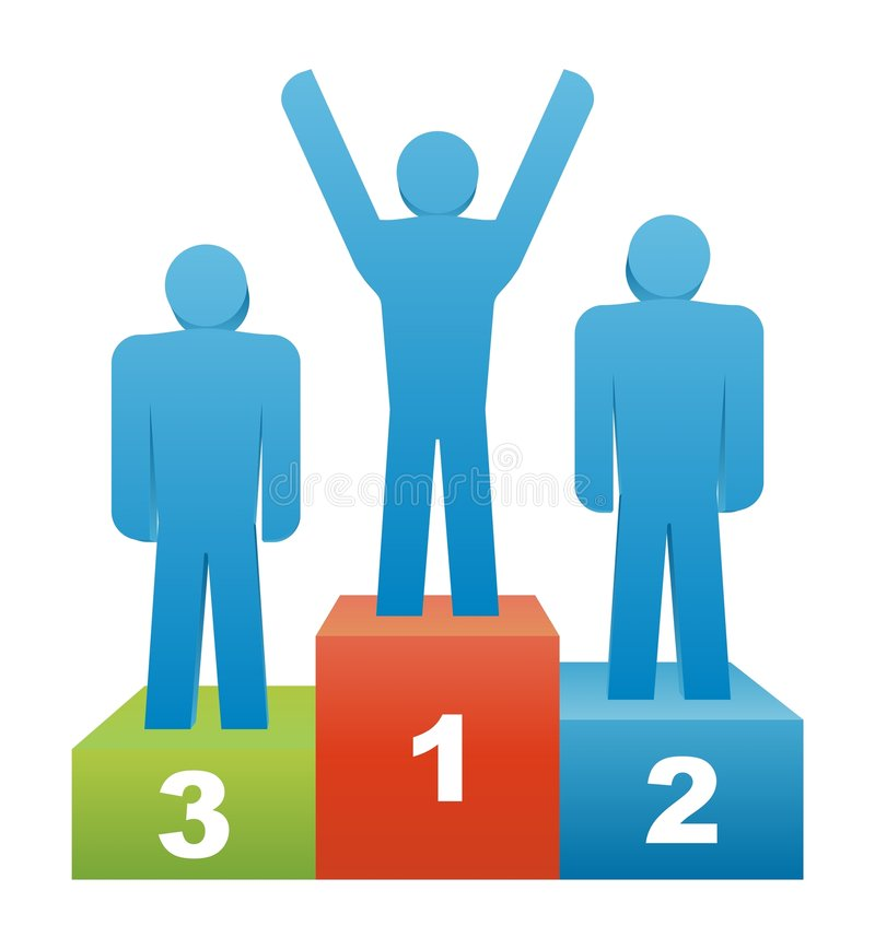 Winner. Three people in the winners podium. Second Place. First Place. Third Place royalty free illustration