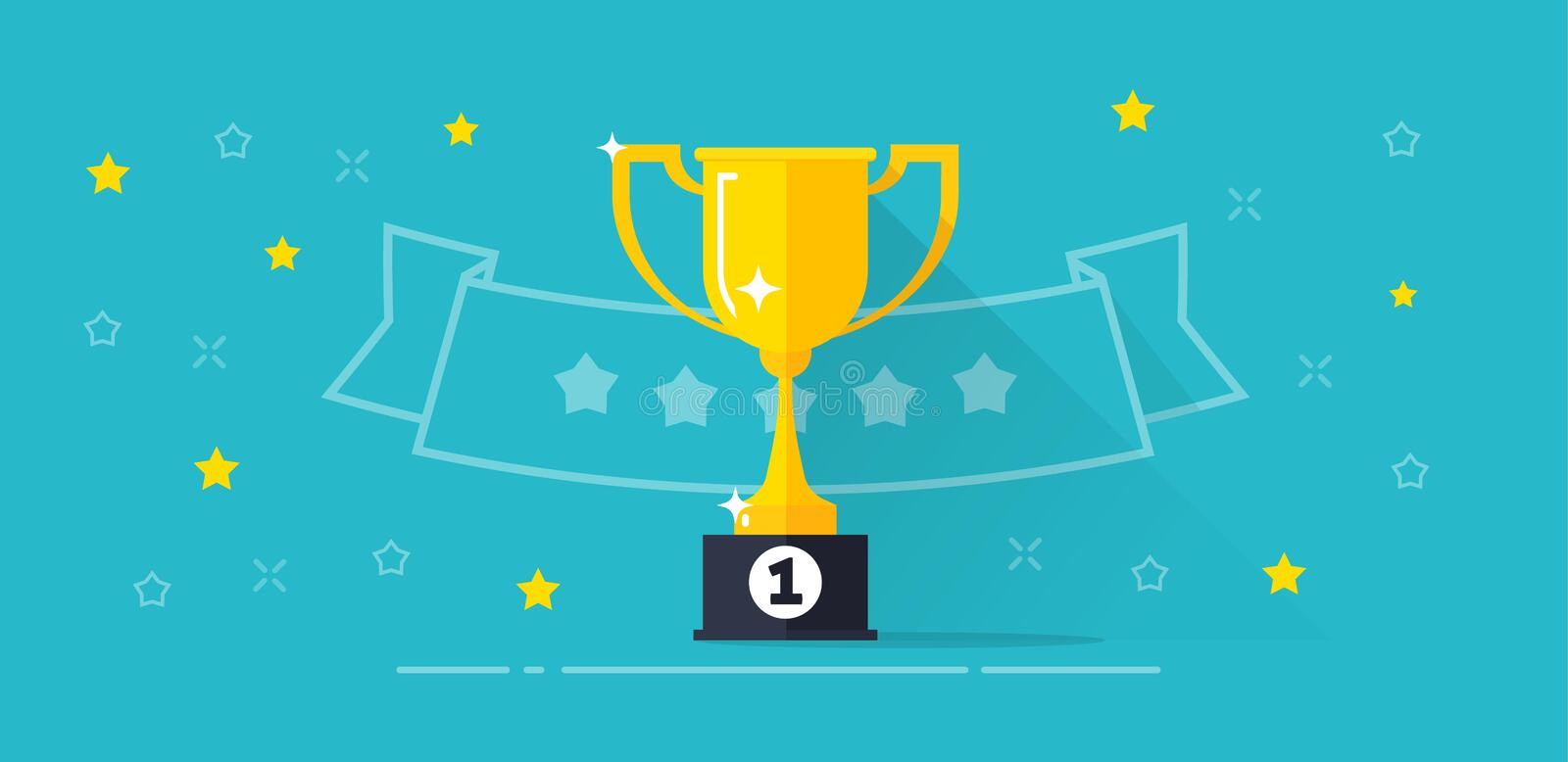 Winner award banner vector illustration, flat cartoon trophy golden cup with first place prize and line outline ribbon royalty free illustration