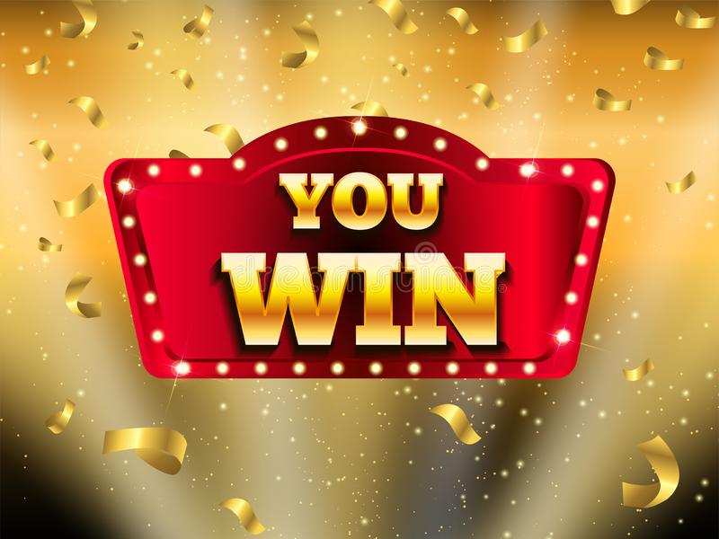 Winner banner. Vector illustration for winners of poker, cards, roulette and lottery. Winner banner with glowing lamps. Win congratulations vintage frame royalty free illustration