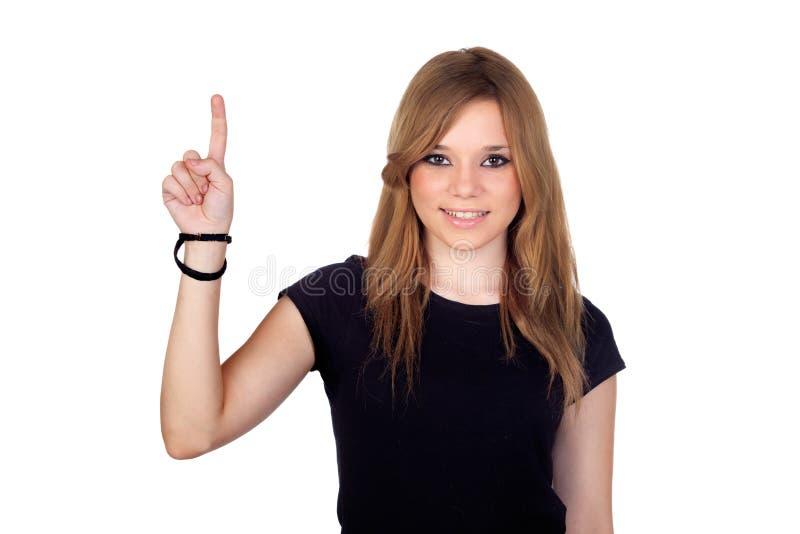 Download Winner Blond Woman Asking To Speak Stock Image - Image: 27327599
