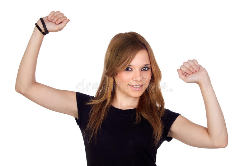 Winner Blond Woman With Black Shirt Royalty Free Stock Photo