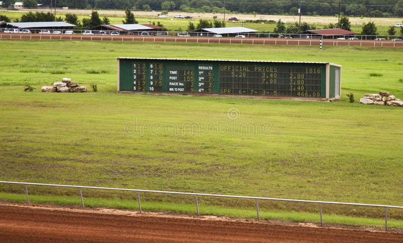 Winner Board at Horse race track. In Rural Texas. Board shows winners and payout. This sign is lighted with light bulbs to designate statistics stock image