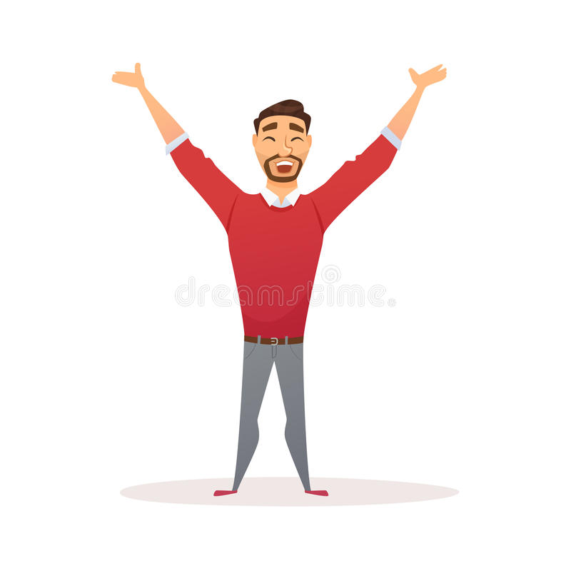 Winner business man. Celebrating victory. Happy manager in smart casual wear standing and gesturing. Everyday successful worker with arms up. Isolated on white royalty free illustration