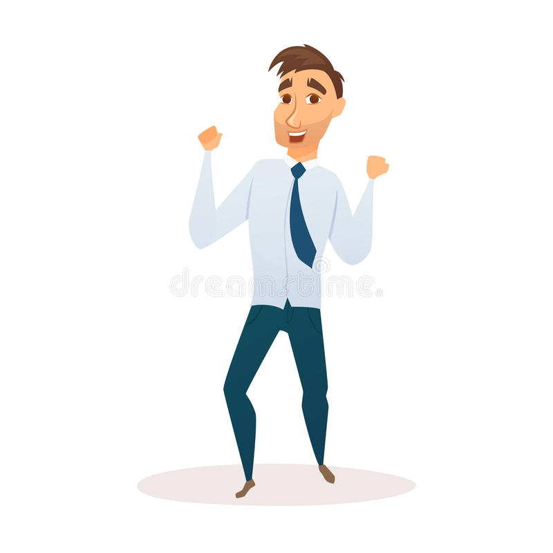 Winner business man. Celebrating victory. Happy manager in smart casual wear standing and gesturing. Everyday successful worker with arms up. Isolated on white stock illustration