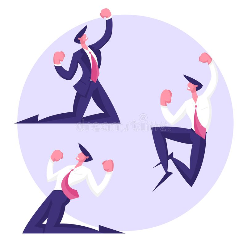 Winner Business Man Celebrating Victory or Successful Deal. Happy Manager in Smart Casual Wear Standing on Knees. And Gesturing. Everyday Successful Worker with royalty free illustration