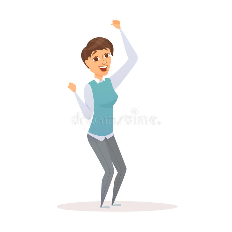 Winner business woman. Celebrating victory. Happy manager in smart casual wear standing and gesturing. Everyday successful worker with arms up. Isolated on stock illustration