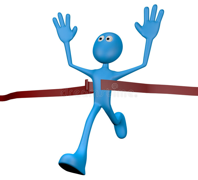 Winner. Cartoon character crossing the finishing line - 3d illustration royalty free illustration