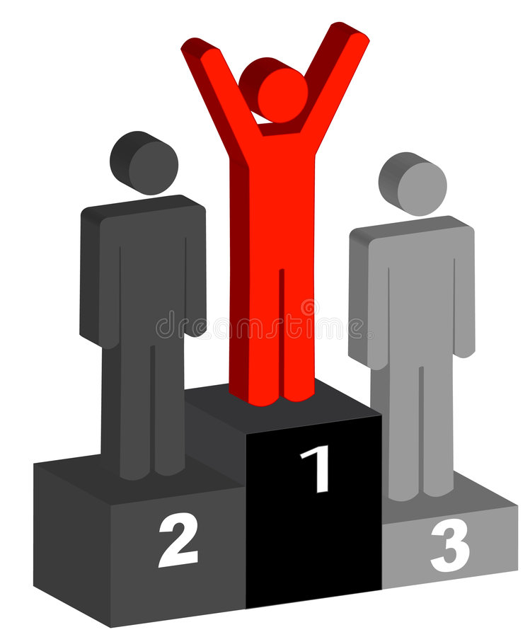 Winner celebrating on podium. First second and third place winners celebrating on the podium - vector royalty free illustration