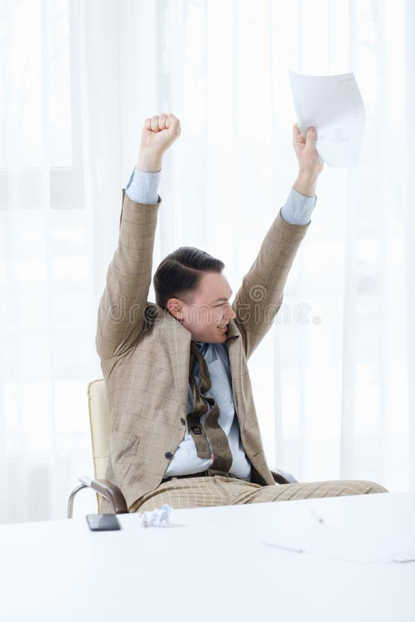 Winner champion victory success business man happy stock image