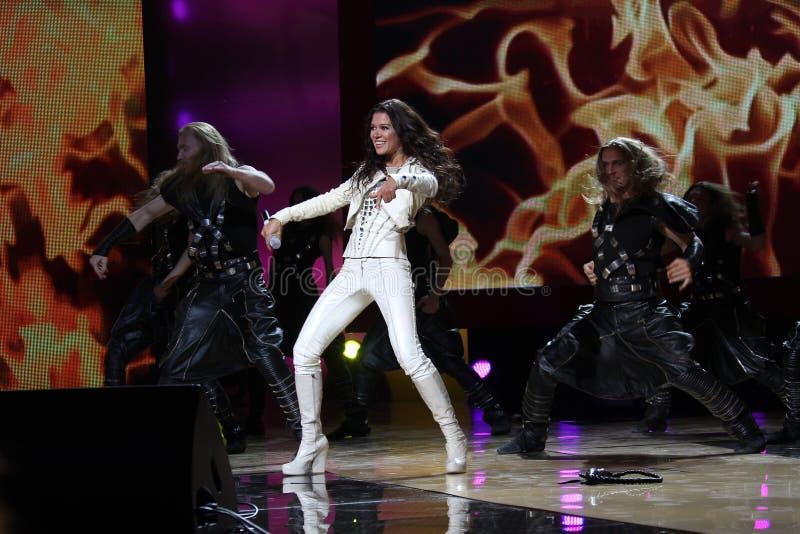 Winner Eurovision singer Ruslana. KIEV, UKRAINE - OCT. 23: Winner Eurovision singer Ruslana arrives at the opening , at the Opera Theatre 40th Film Festival royalty free stock photos