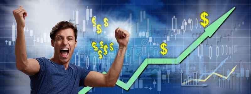 Happy investor man. royalty free stock photography