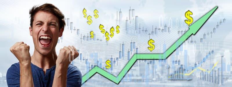 Happy investor man. royalty free stock photo
