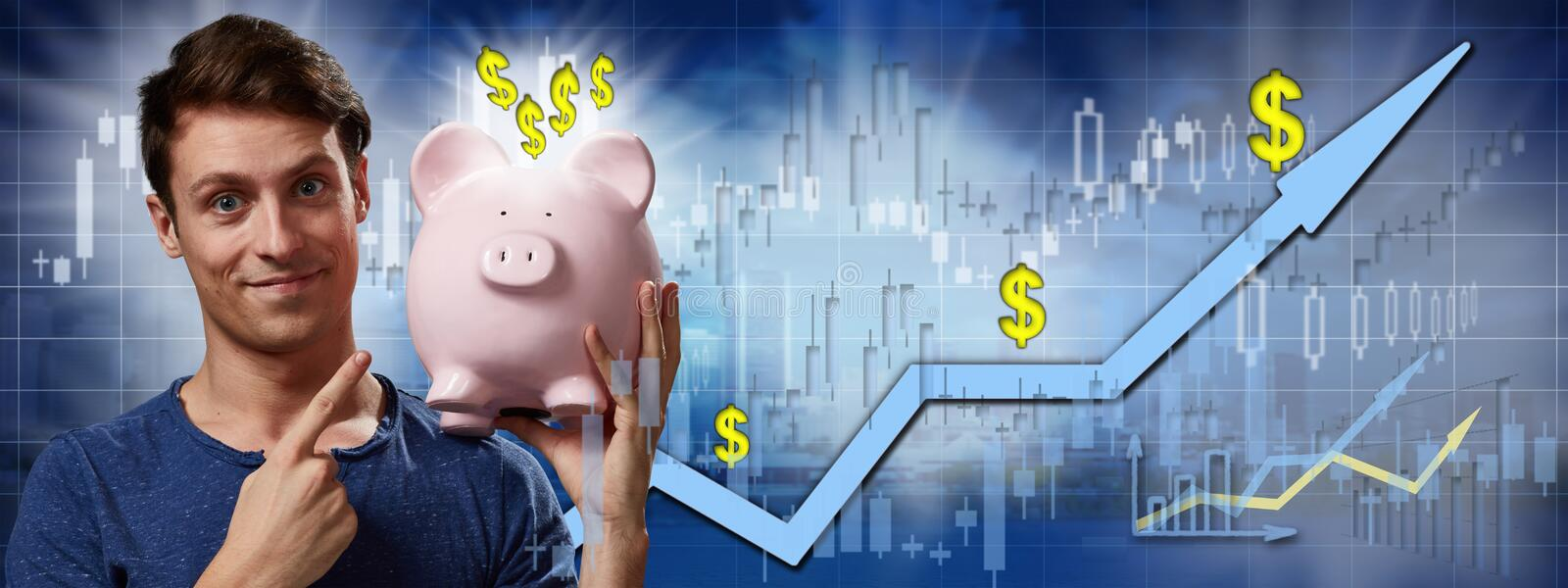 Happy investor man. stock images