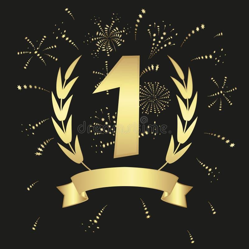 Winner. Gold medal badge with ribbon, wreath and fireworks. Vector illustration vector illustration