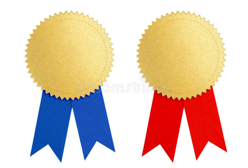 Winner gold seal medal award with blue and red ribbon royalty free stock photography