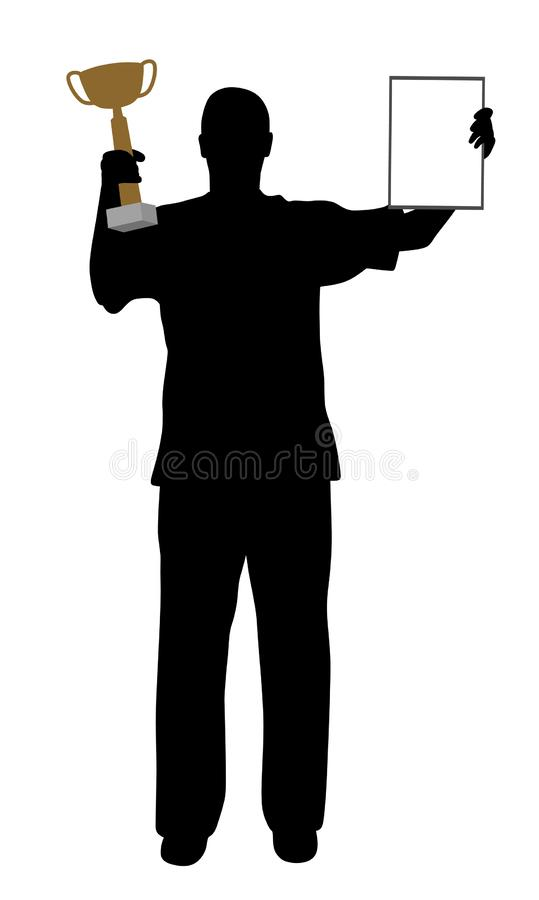 Winner with golden trophy and certificate. Illustration of a winner holding up a golden winning trophy and a certificate. Isolated white background. EPS file stock illustration
